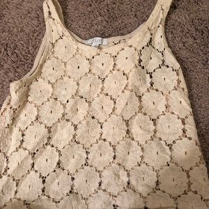 Hole Detailed Cream Tank Top